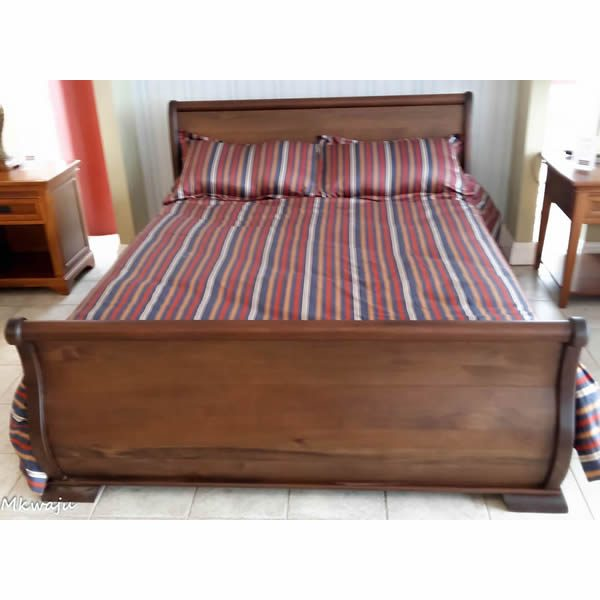 French Sleigh Bed In Solid Mahogany by Mkwaju Furniture Makers Nairobi